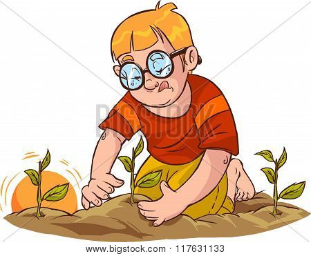 White Background Vector Illustration Of A Tree Seedlings Child