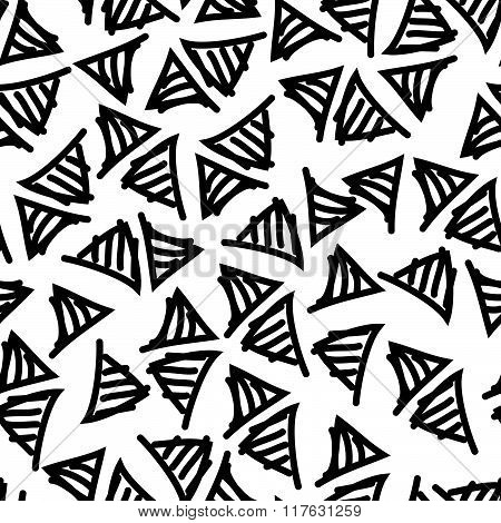 Vector Hand-painted Seamless Pattern With Triangle, Lines, Doodle