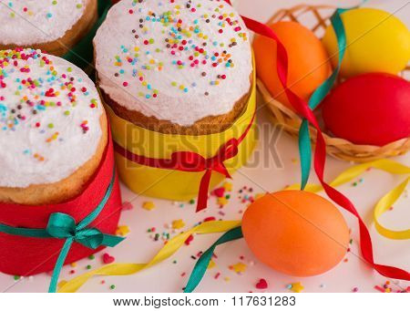 Easter Cake And Painted Eggs. Selective Focus