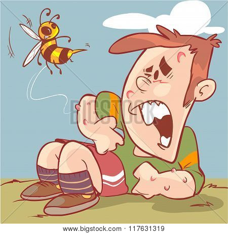 Vector Illustration Of A Children Bee Stings