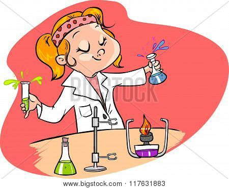 Red Background Vector Illustration Of A  Cute Young Scientist