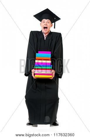 Young graduation man holding books, isolated on white background