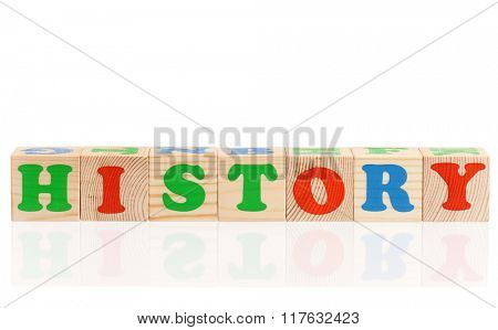 History word formed by colorful wooden alphabet blocks, isolated on white background
