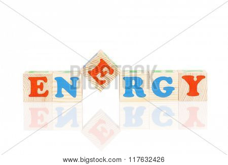 Energy word formed by colorful wooden alphabet blocks, isolated on white background