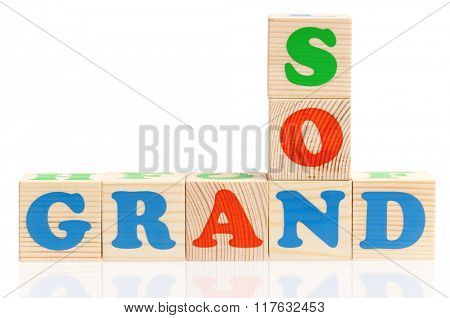 Grandson word formed by colorful wooden alphabet blocks, isolated on white background