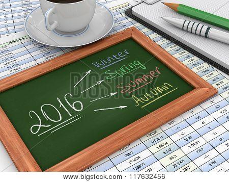 Blackboard with 2016
