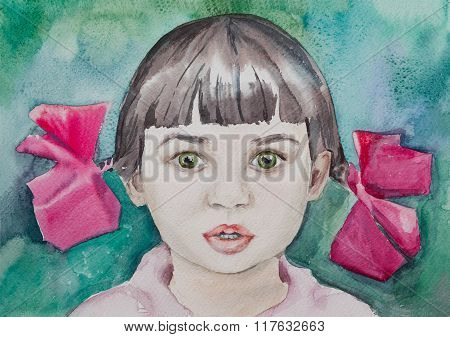 Watercolor Portrait Of Little Cute Baby Girl On Turquoise Background