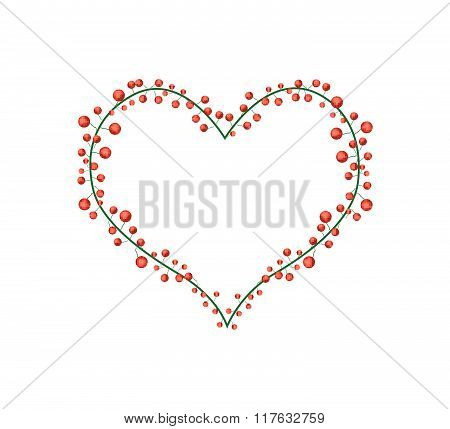 Red Berries In A Heart Shape Wreath