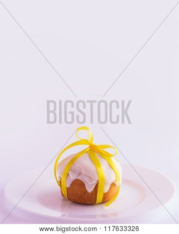 Easter Cake On The Plate On A White Background. Selective Focus.