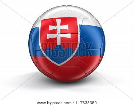 Soccer football with Slovak flag. Image with clipping path