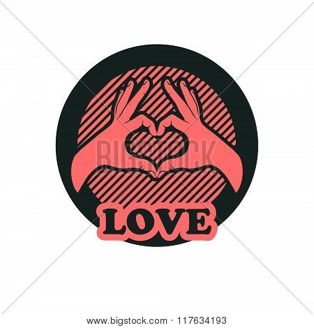 Hand making heart sign. Heart shape hand. Valentines card.