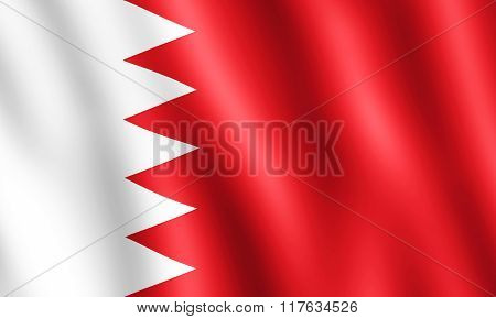 Flag Of Bahrain Waving In The Wind