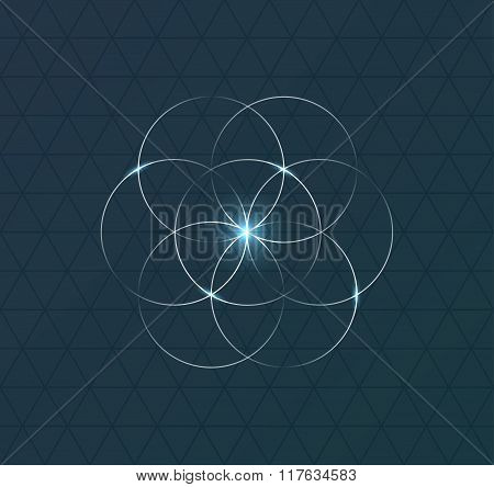 Abstract geometrical symbol on dark blue background