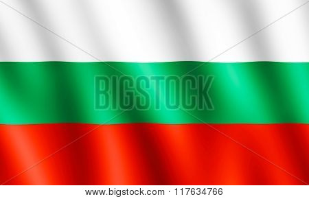 Flag Of Bulgaria Waving In The Wind