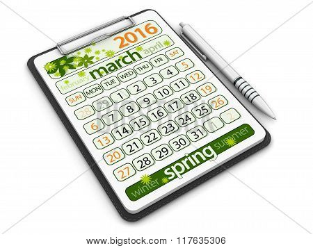 Clipboard with march. Image with clipping path