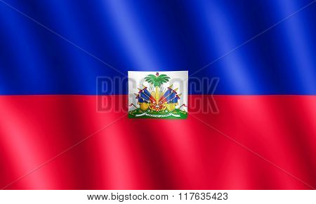Flag Of Haiti Waving In The Wind