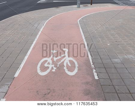 Surface Paving Slabs Of The Cycle Path