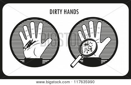 Dirty Hands. Hand Hygiene. Black & White Flat Vector Icons In The Circle. Bacteria And Infection. Human Disease. Dirt On The Skin. Dirty People. The Infection Under The Skin.