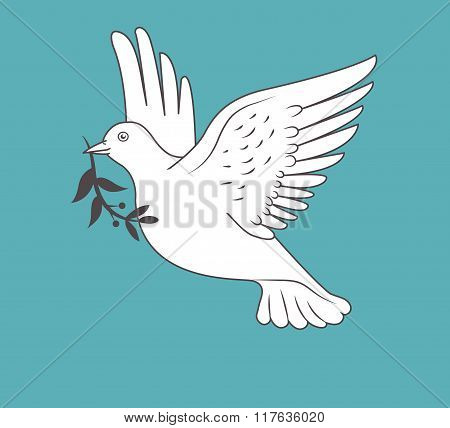 White Dove In Flight Holding An Olive Branch On Blue Background. Vector Illustration. Peace Dove. With Olive Branch. Peace Day. Dove Of Peace. Holiday Card.
