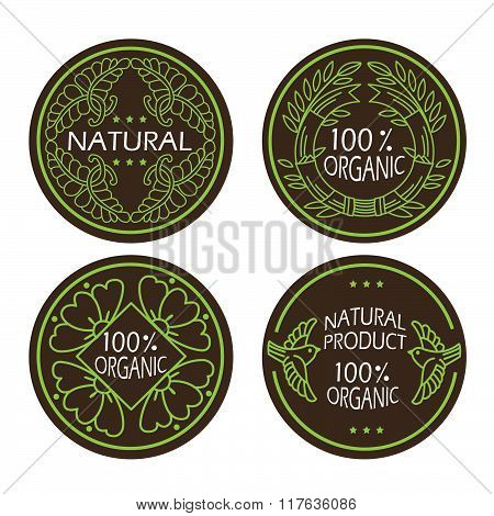 Organic Natural And Eco Icons Set With Text Natural Product - Organic. For Labels And Badges.vector