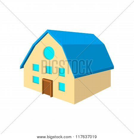Two-storey house with blue roof cartoon icon