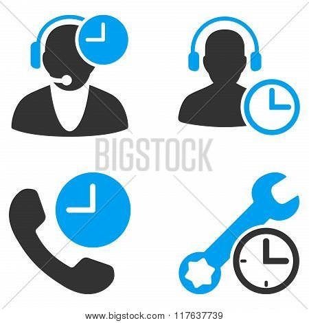 Call Center Service Time Flat Bicolor Vector Icons