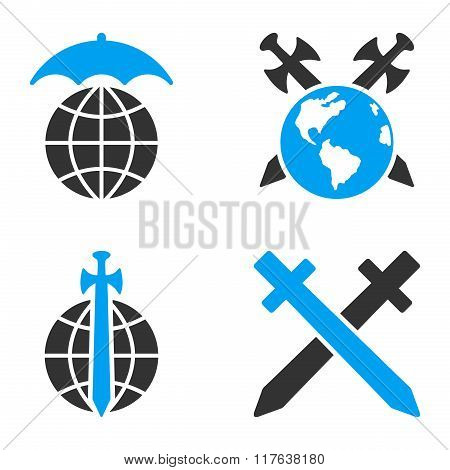 Global Guard Flat Bicolor Vector Icons