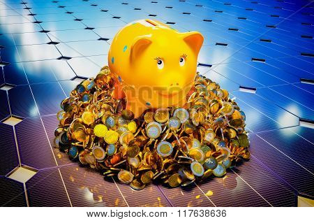 Piggy Bank With Photovoltaic.