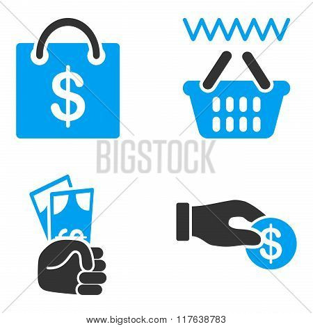 Shopping Payment Flat Bicolor Vector Icons