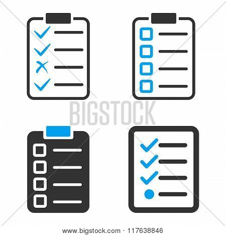 Task List Pad Flat Bicolor Vector Icons