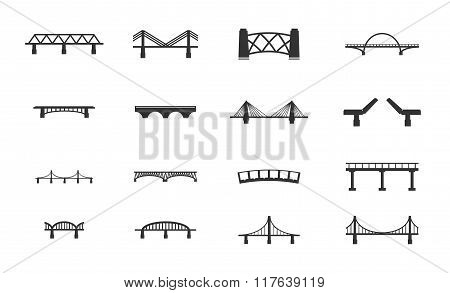 Bridges icons set