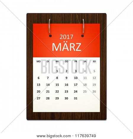 An image of a german calendar for event planning 2017 march