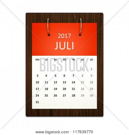 An image of a german calendar for event planning 2017 july