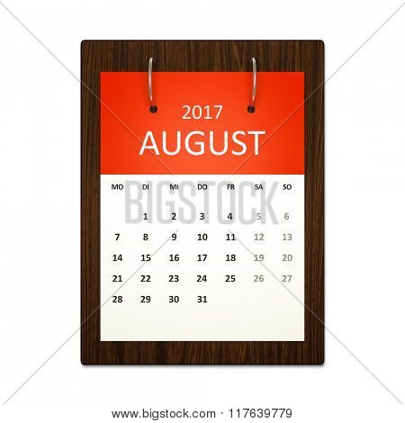 An image of a german calendar for event planning 2017 august