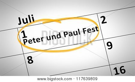 calendar detail shows Peter and Paul Festival first of July in german language