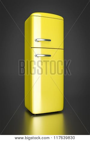 An image of a typical yellow refrigerator