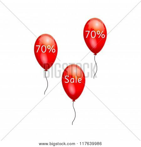 Fun balloons advertising the sale at low prices 70%.