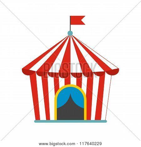 Vintage circus tent flat icon