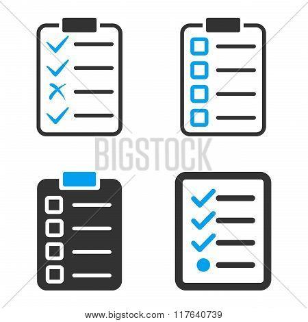 Task List Pad Flat Bicolor Glyph Icons