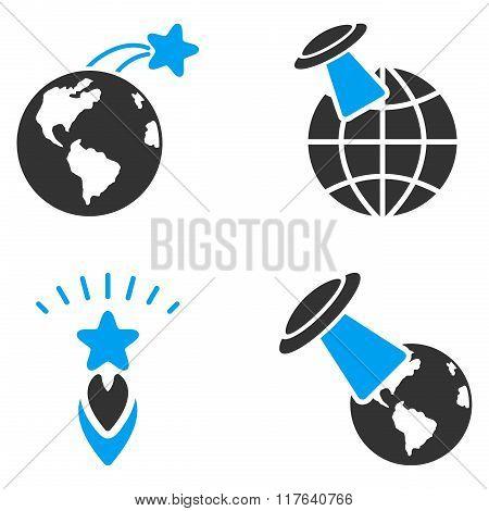Ufo Space Flight Flat Bicolor Glyph Icons