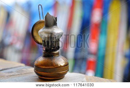 Close-up of old broken kerosene lantern