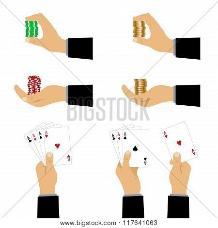 Hand With Playing Cards And Chips.