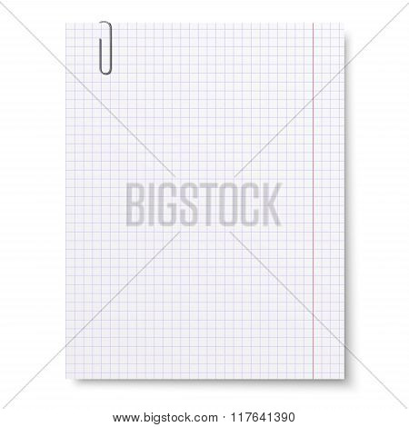Notebook Squared Paper With Metallic Clip Isolated On White