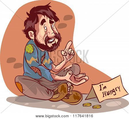 Vector Illustration Of A Beggar