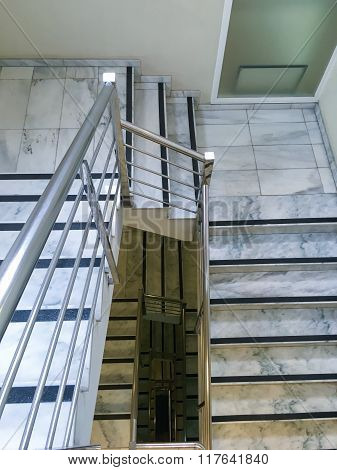 stairs, top view, perspective