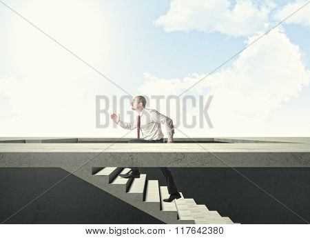 businessman go up on abstract stair