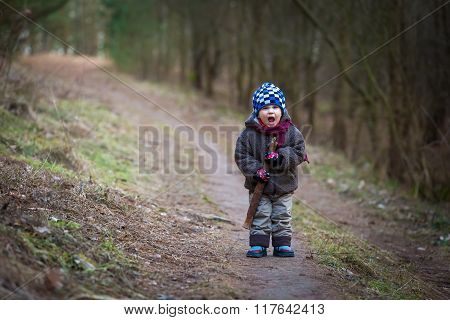 Bad Boy Screaming In Forest.