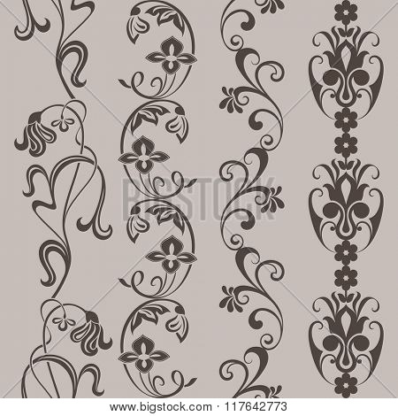 Seamless vintage floral vertical border vector ornaments.
