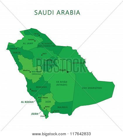 Saudi Arabia regions with names and cities vector