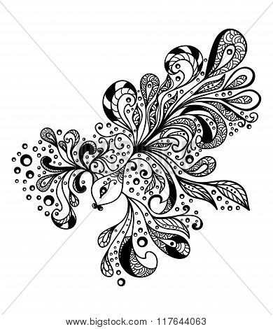 Zen-doodle fish black on white